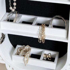 Set of Two White Jewelry Display Trays